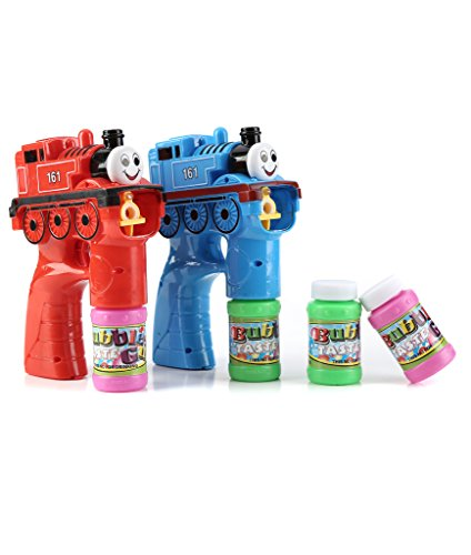 Fun Central BC707 2 Packs 5 Inch LED Train Bubble Gun with Sounds, Bubble Gun for Kids, Light Up Bubble Gun, Toys for Kids - Perfect for Sea, Water, Pool Party, Party Favors
