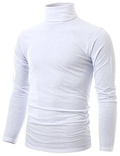 Ohoo Mens Slim Fit Soft Cotton Long Sleeve Pullover Lightweight Turtleneck /DCT001-WHITE-S ()