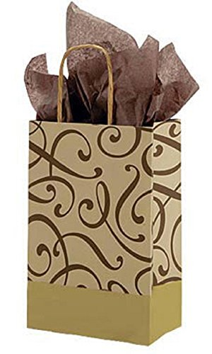 Small Chocolate & Gold Swirl Paper Shopping Bags - Case of 100. by STORE001