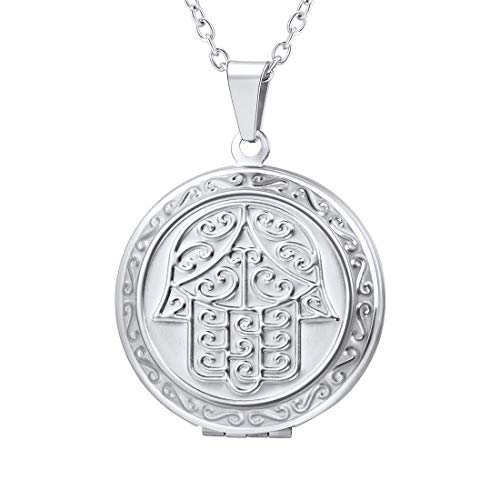 U7 Stainless Steel Photo Locket Necklace Lucky Symbol Hamsa Hand Engraved Pendant Gift for Women/Girls/Grandma, Chain 22 Inch