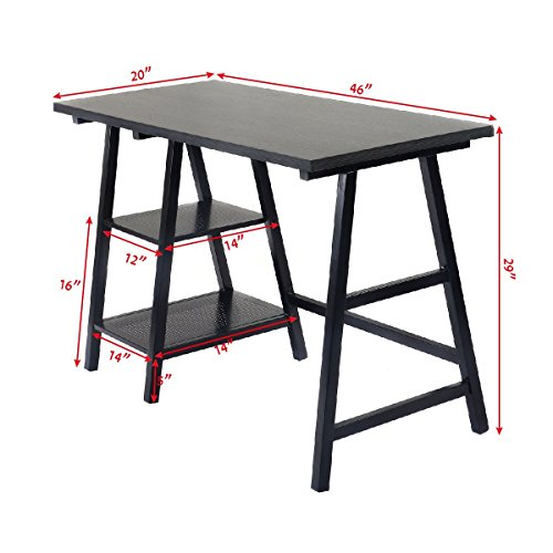 Tangkula Computer Writing Study Trestle Desk Modern Vintage Home Office Furniture (Black)