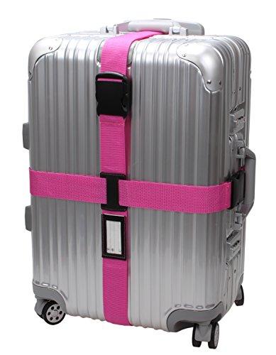 Cross Luggage Strap Adjustable Suitcase Belt Travel Accessories 1Pack #L170 (1Hot Pink) - Pink Leather Belt Strap