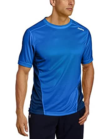 Reebok Men's PlayDry Textured Knit Shirt, Frenchy Blue/Industrial Blue, Small