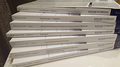 2018 CFA Level 1 Kaplan Schweser: Books 1-5, Practice Exam Vol 1-2, QuickSheet