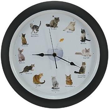 Amazon Com Meowing Cat Clock 13 Quot Home Amp Kitchen