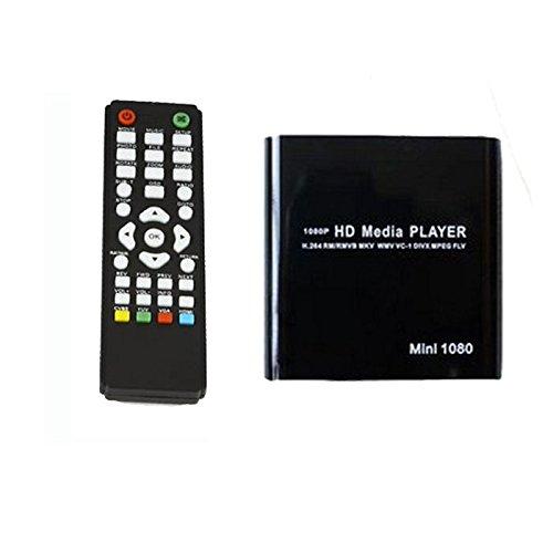 Culater® Lecteur Multimédia Mini HDD 1080p MKV / H.264 / RMVB HD avec HOST Carte USB / SD Lecteur Noir