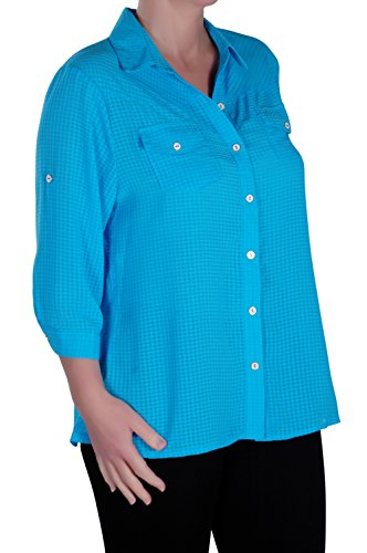 Tops Chemise Grandes Tailles Femmes Dcontracts Turquoise Catch Dames Eye Chemisier Tailles apqfpZ8w