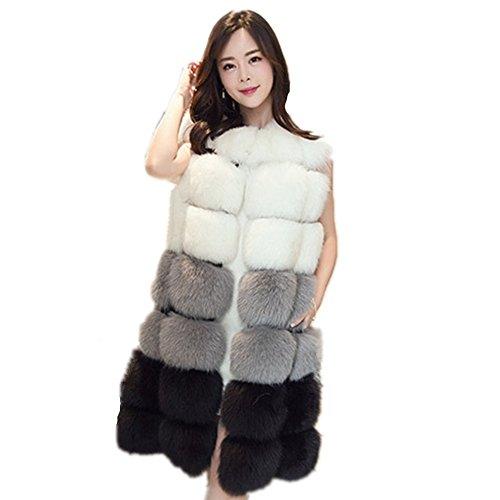Women Winter Coat Jackets Women Faux Fox Fur Vest Brand Long Fur Vests Fashion Luxury Fur Coat (4XL, White) - Long Fur Vest