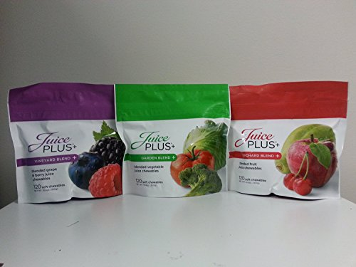 Juice Plus+ Orchard, Garden & Vineyard Blend (3 bags) 120 Chewables of Each