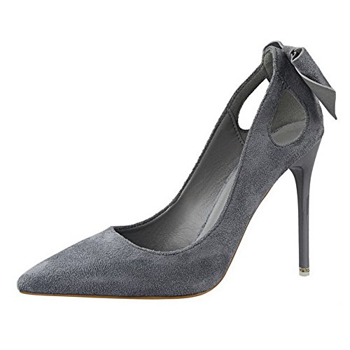AalarDom Womens Blend Materials Spikes-Stilettos Pointed-Toe Pull-On Pumps-Shoes with Bow-Tie Gray-bowknot 3SK4R