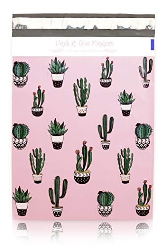 """Pack It Chic - 10"""" X 13"""" (100 Pack) Cactus & Succulents Poly Mailer Envelope Plastic Custom Mailing & Shipping Bags - Self Seal (More Designs Available)"""