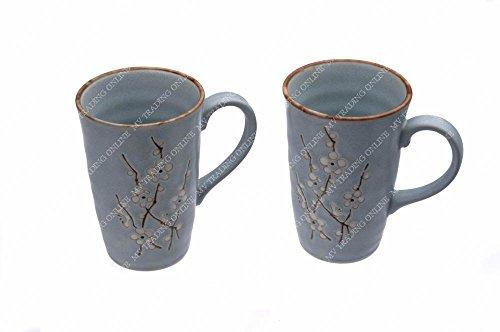 Japanese Blue Cherry Blossom Sakura Coffee Mugs Tea Cups with Handle, Set of 2 Cups, 12 Ounces
