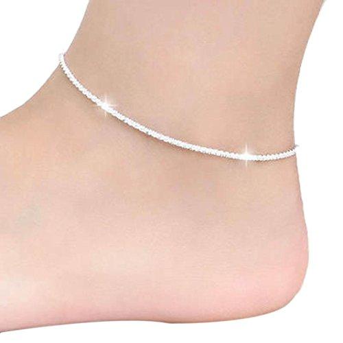Bokeley Hemp Rope Women Chain Ankle Bracelet Barefoot Sandal Beach Foot Jewelry (Silver)