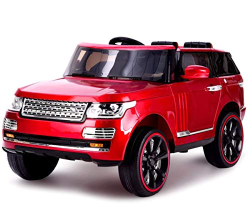 KidOne Range Rover Style 12-Volt MP3 Electric Battery Powered Ride On Kids Boys Girls Toy Car RC Parental Remote LED Lights Music Red