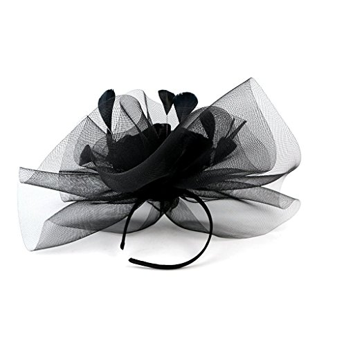 Merya Dress Kentucky Derby Fascinator Hats Feather Prom Cocktail Tea Party Hat Black-AA by Merya Dress (Image #7)