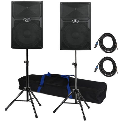 Peavey PVx 12 Speaker Pair w/ Tripod Stands(w/Bag) and 2 Speakon to 1/4'' Cables by Peavey Inc