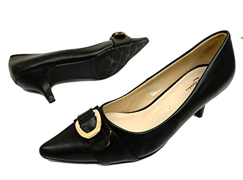 HeelzSoHigh Ladies Black Leather Slip-On Kitten Low Heel Comfy Court Pointy Work Shoes Sizes 2-7 5JU5LGzqT