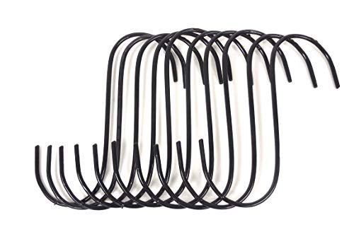 Set of 10 pc Jumbo Size 10 Inches S Shape Utility Hook Set, Vinyl Coated Wire ()