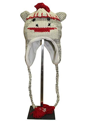 Sherpa Love Hand Knit Unisex Wool Animal Beanie Hat Cap Ear Flap Fleece Lined Nepal (Youth/Adult, Sock -