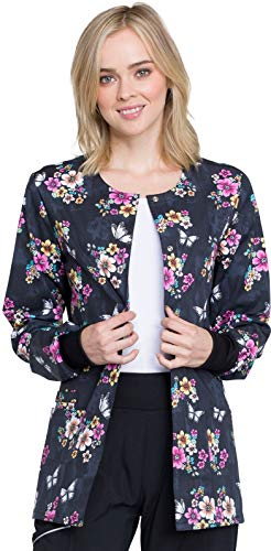 Cherokee CK301 Women's Snap Front Warm-up Jacket Butterflies and Blossoms - Warm Cherokee Up Jacket