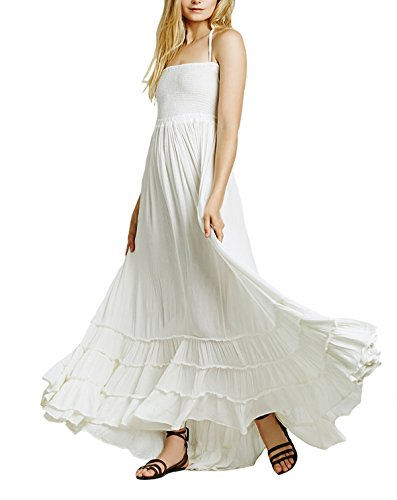 CA Mode Women's Halter Bridesmaid Evening Formal Gown Prom Maxi Long Dress, White, Large ()