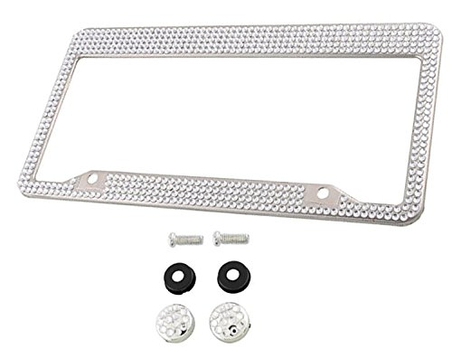 Swarovski Crystal License Plate Frame Holder Cover with Screws - Bling Rhinestone Jewelry Car Auto Accessories Decoration Decals for USA & Canada Lady Womens on Amazon -  CarAccessoriez
