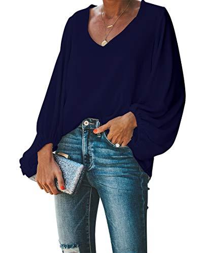 Navy V-neck Top - BELONGSCI Women's Casual Sweet & Cute Loose Shirt Balloon Sleeve V-Neck Blouse Top Navy Blue