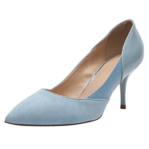 Jamron Women Elegant Pointed Toe Stiletto Heel Work Office Uniform Dress Shoes Sexy Wedding Evening Party Prom Pumps Blue AOc8ma
