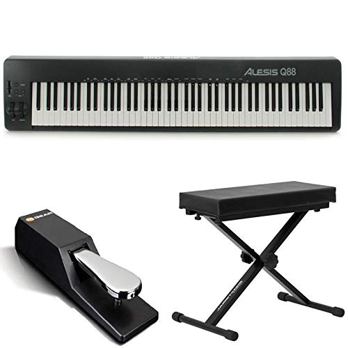 - Alesis Q88 | 88-Key USB/MIDI Keyboard Controller with Pitch & Mod Wheels + Bench + Sustain Pedal