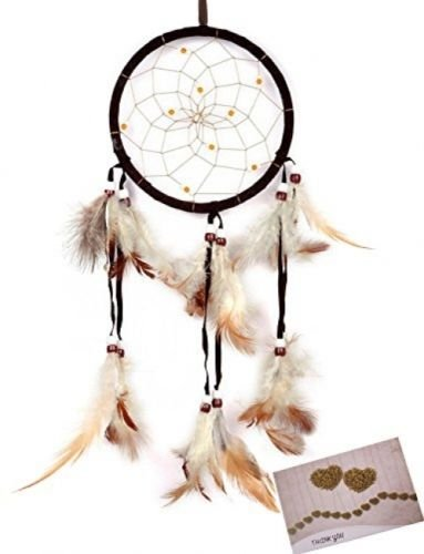 [BSLINO Dream Catchers Brown Handmade Beaded Feather Native American Circular] (Homemade Archery Costume)