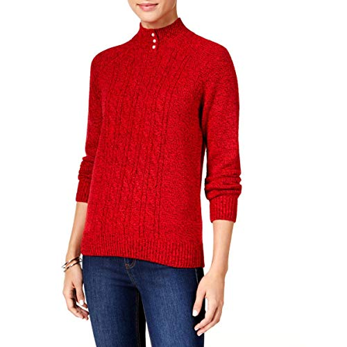 Karen Scott Womens Cable Knit Marled Mock Sweater Red PXL