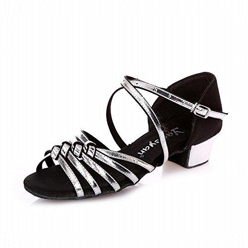 Cuero Baile de de Talón Jazz Baile Onecolor de el Suave Latino Zapatos Sandalias Interior Plata Zapatos Inferior Modern BYLE bajo de Negro de Samba Verano Tobillo Zapatos PEw7qn5