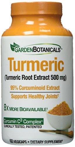 Designed Well Mixed Garden (Garden Botanicals Turmeric 500mg, 60 vegicaps, 95% Curcuminoid Extract, Supports Healthy Joints, 60 servings)