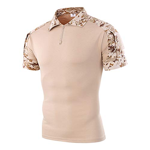 ff78381c2 Tactical Combat Shirt Military Camo Short Sleeve Shirt with Zipper Men's  Tactical Camouflage T-Shirt (Color : Style 10, Size : US:XL=Tag XXL)