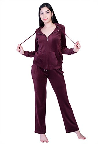 Dolcevida Women's Active Solid Velour Tracksuit Zip up Hoodie and Sweat Pant Set (Wine, M) ()