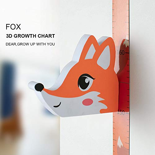 WPT 3D Height Ruler Growth Chart Removable Measurement Portable Magnetic Little Fox EVA Header Decals Children