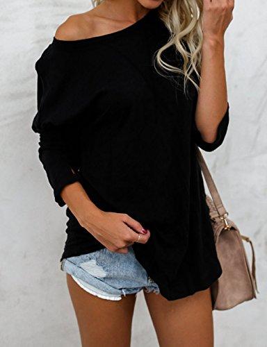 Tee Automne Chemisiers Shirt Printemps Femmes Chandail T Legendaryman Tops Unie Tunique Mode Couleur Long Jumpers Casual Blouse Shirts Hauts et Noir Sweat Longues Manches vCAzxEzqw