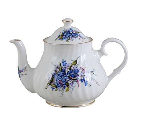 (FORGET ME NOT 6 Cup Teapot - Fine English Bone)