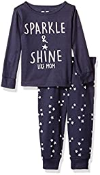 The Children\'s Place Girls\' 2 Piece Cotton Pajama Set, Sparkle, 6-9 Months