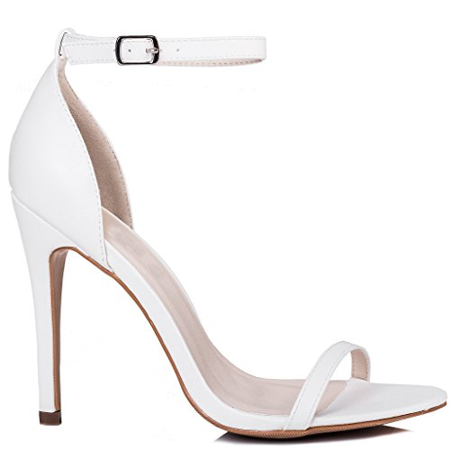 SPYLOVEBUY PRETTY Women's Adjustable Buckle High Heel Stiletto Sandals Shoes White Leather Style ZhAJxB7O