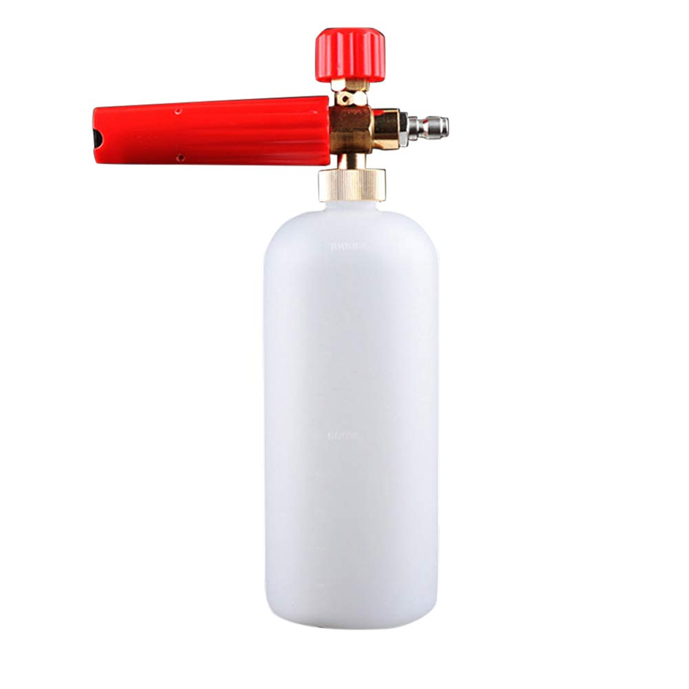 Jiecikou Foam Cannon Snow Foam Lance Adjustable Pressure Washer Jet Wash Quick Release Adjustable 1/4'' Fitting Male Water Sprayer Red by Jiecikou