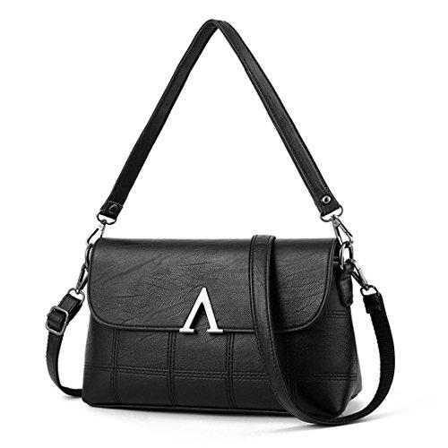 Messenger bag lady Womens Bag aged middle mother Shoulder Dunland bag Tote Black Flip Lady Purse Hobo Handbag Temperament U1AqAH