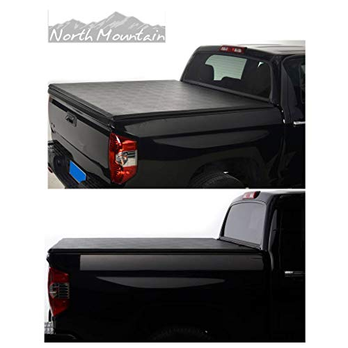 (North Mountain 1pc Black Vinyl Clamp On Soft Lock & Roll-up Top Mount Tonneau Cover Assembly w/Rails+Mounting Hardware Fit 05-17 Nissan Frontier 09-12 Suzuki Equator Pickup 5ft Bed)