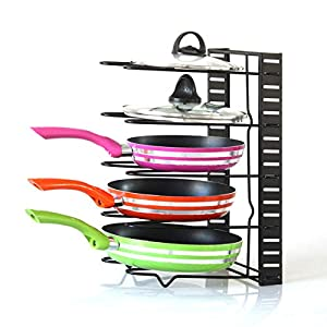 Pan Organizer Rack Onmexto Pot Lid Cookware Holders with Adjustable Dividers for Kitchen Cabinet Countertop and Pantry Black