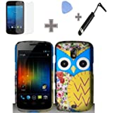 Rubberized Black Red Pink Yellow Blue Flower Owl Eyes Snap on Design Case Hard Case Skin Cover Faceplate with Screen Protector, Case Opener and Stylus Pen for Samsung Galaxy Nexus 4G / i515 - Verizon/Sprint