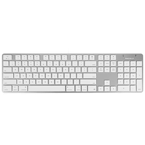 Macally Ultra-Slim USB Wired Keyboard with Number Keypad for Apple Mac Pro, MacBook Pro/Air, iMac, Mac Mini, Laptop Computers, Windows Desktop PC Laptops, Silver (SLIMKEYPROA)