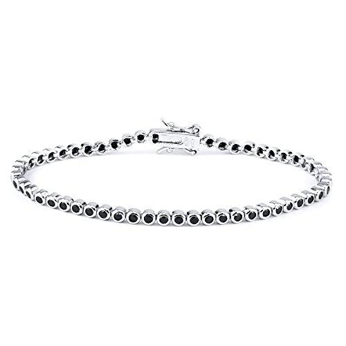 Sterling Silver Simulated Round Cut CZ Black Diamond Tennis Link Bracelet Bezel (AAA quality) 7.50