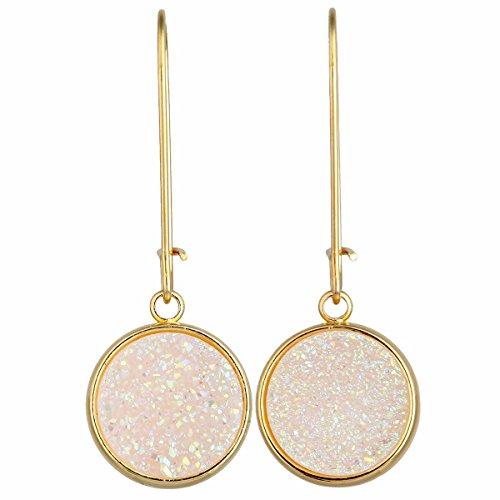 (TUMBEELLUWA Titanium Coated Druzy Agate Dangle Earrings Stone Kidney Hook Drop Healing Crystal Earring Handmade Jewelry for Women,White AB)