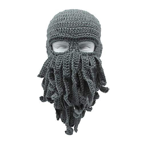 LONIY Handmade Funny Tentacle Octopus Hat Crochet Beard