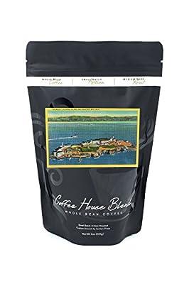 The Rock, Alcatraz Island and San Francisco Bay (8oz Whole Bean Small Batch Artisan Coffee - Bold & Strong Medium Dark Roast w/ Artwork)